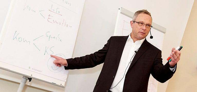 Verkaufstraining mit Ingo Vogel vor Flipchart frontal